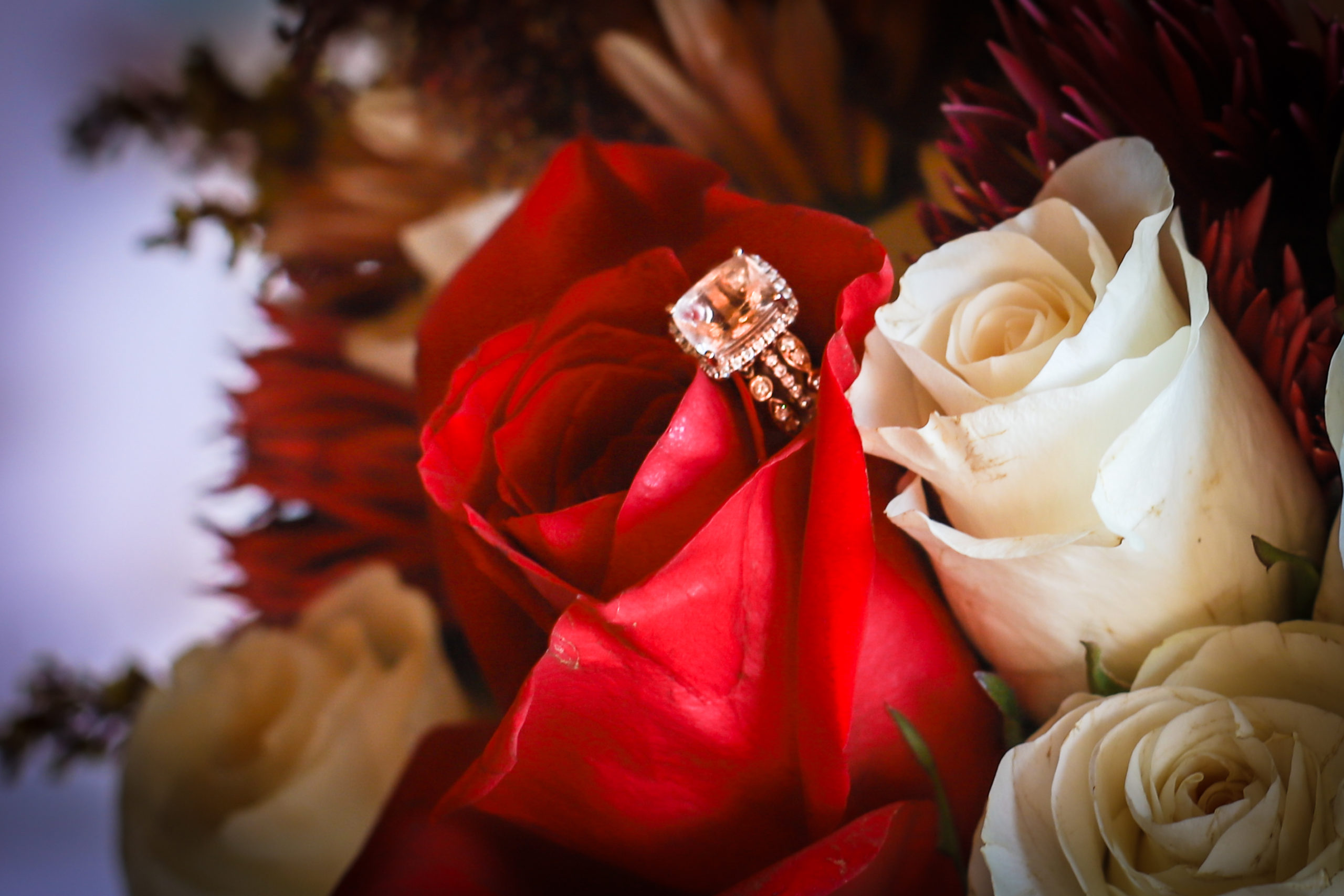 bridal bouquet and ring